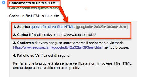 Caricamento file HTML Search Console