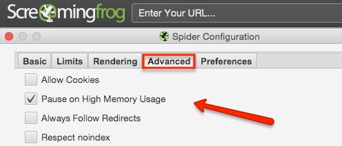 Configurazioni avanzate di Screaming Frog
