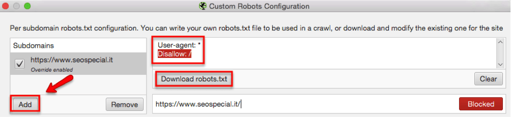 Testare un Robots.txt con Screaming Frog