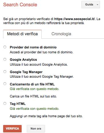 Metodi di verifica della Search Console