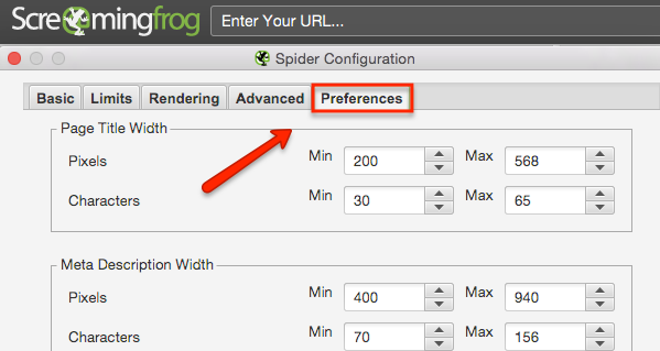 Preferences configuration seo spider