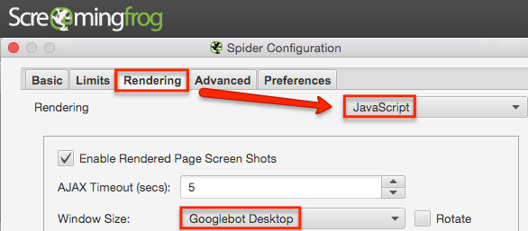 Rendering risorse Javascript con Screaming Frog