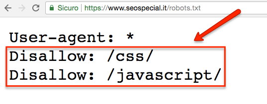 Robots.tzt disallow css e javascript