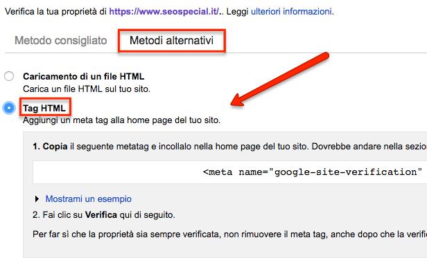 Tag HTML della Search Console