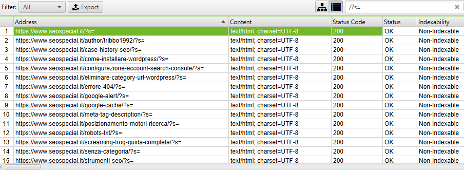 URL da bloccare con il file di robots txt