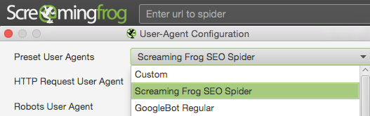 User Agent Screaming Frog